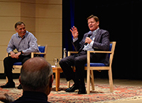 """Michael Lewis Riffs on Wall Street, """"Flash Boys,"""" and his First meeting with President Obama"""
